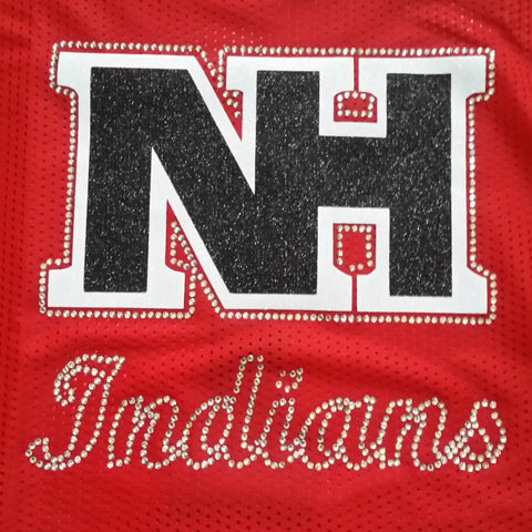 North Hills Indians NH Logo in Glitter and Rhinestone Design