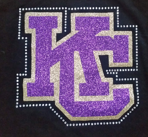 Karns City KC Logo Glitter and Rhinestone Design