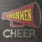 North Pittsburgh Catholic Ironmen Cheer Megaphone Glitter & Rhinestone Design
