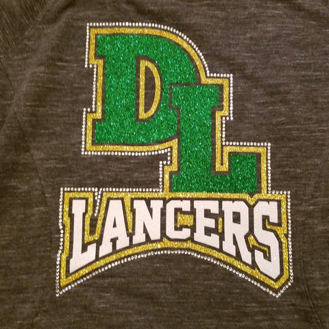 Deer Lakes DL Lancers Bridge Glitter & Bling Rhinestone Design