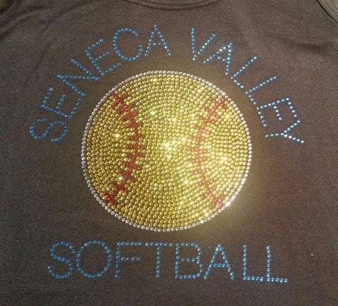 Seneca Valley Softball Solid Rhinestone Design