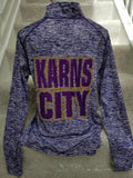 Karns City Ladies Quarter-Zip Long Sleeve Tee - GrandChampBows - 2