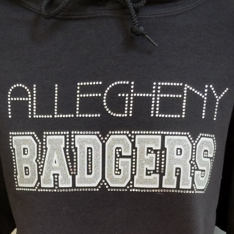 Allegheny Badgers Hockey Glitter and Rhinestone Design