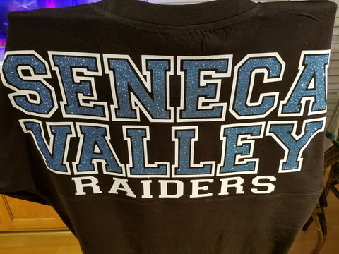 Seneca Valley Boyfriend Spirit Jersey with 2 Color Large Block Lettering in Youth & Adult sizes - GrandChampBows - 1