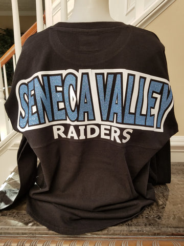 Seneca Valley Boyfriend Spirit Jersey with 2 Color Lettering in Youth & Adult sizes - GrandChampBows - 1