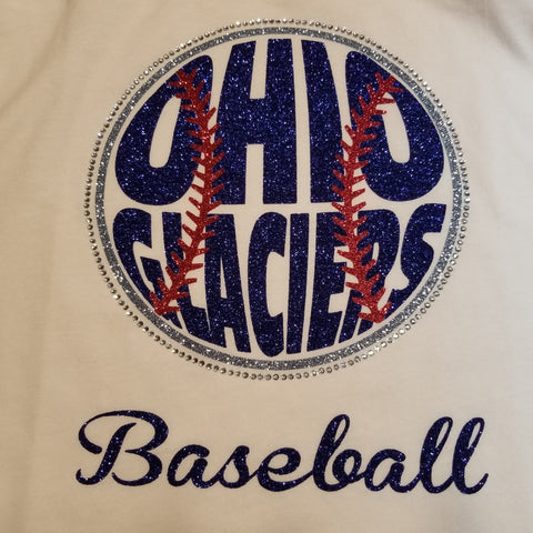 Ohio Glaciers Baseball Glitter and Rhinestone Design