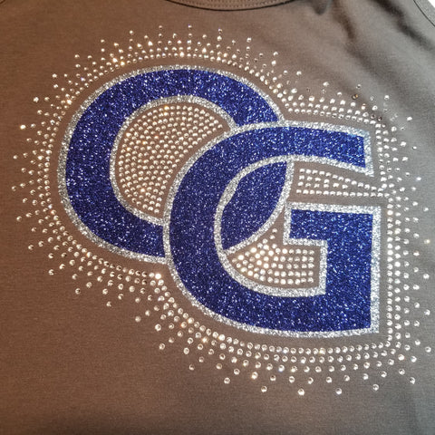 Ohio Glaciers Baseball Spectacular Bling Glitter and Rhinestone Design
