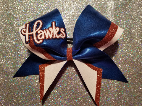 Armstrong Riverhawks Hawks Script Glitter Cheer Bow
