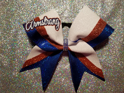 Armstrong Riverhawks Armstrong Script Glitter Cheer Bow