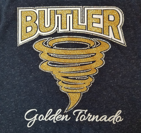 Butler Large Golden Tornado Glitter and Rhinestone Design