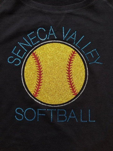 Seneca Valley Softball in Glitter and Rhinestone Design