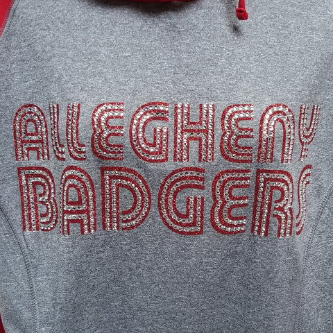 Allegheny Badgers Funky Text Glitter and Rhinestone Design