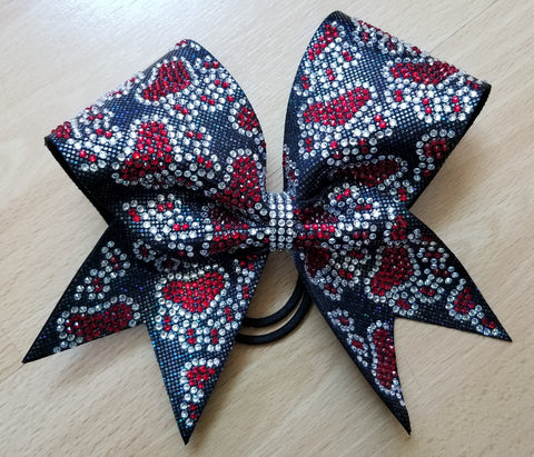 Paw Prints Duo Filled In Rhinestones & Glitter Cheer Bow
