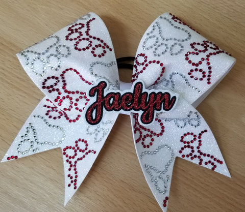 Personalized Paw Prints with 3d Name Duo Rhinestones & Glitter Cheer Bow