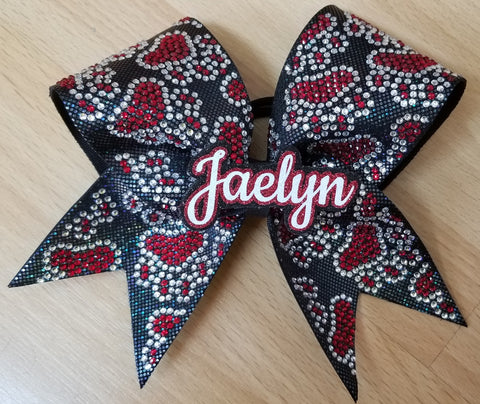 Personalized Paw Prints Filled In with 3d Name Duo Rhinestones & Glitter Cheer Bow