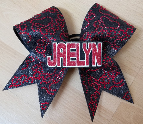 Personalized Paw Prints with 3d Name Rhinestones & Glitter Cheer Bow