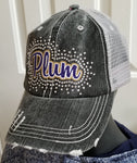 Plum Glitter & Bling Destructed Trucker Cap / Hat