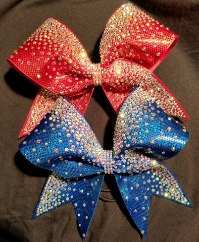 Metallic Sheen Ombre Rhinestones Cheer Bow