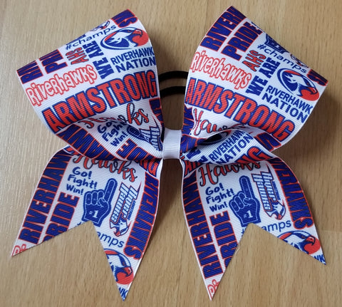 Armstrong Riverhawks Hawks Subway Tile Custom Cheer Bow