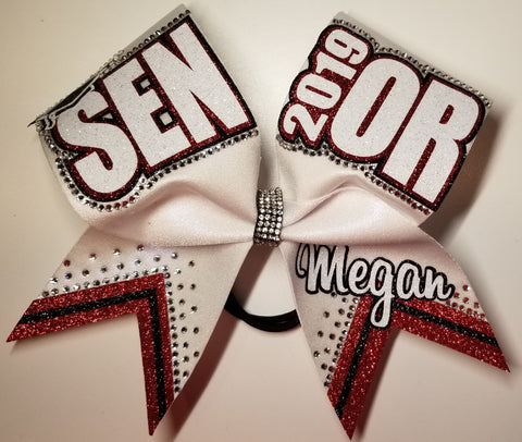 Personalized Senior Rhinestones & Glitter Cheer Bow