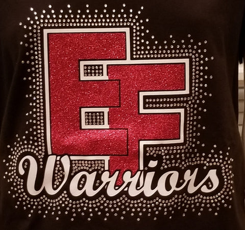 Elizabeth Forward EF Warriors Glitter & Bling Rhinestone Design