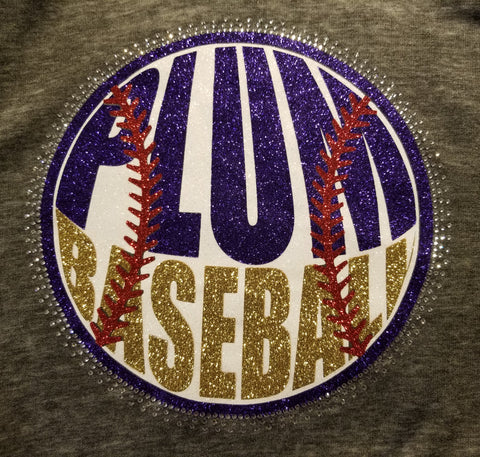 Plum Mustangs Baseball Glitter and Rhinestone Design