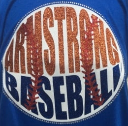 Armstrong Baseball Glitter and Bling Rhinestone Design