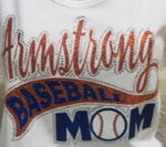 Armstrong Baseball Mom Glitter and Bling Rhinestone Design