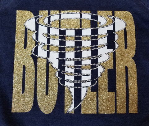 Butler Golden Tornado Knockout Glitter and Rhinestone Design