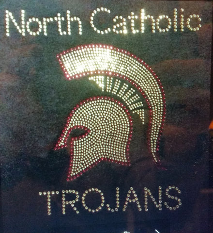 North Catholic Trojans Rhinestone Design