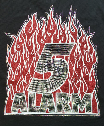 Fire and Ice 5 Alarm Big Fire Glitter and Rhinestone Design