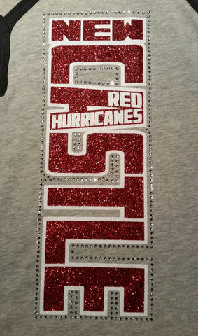 New Castle Red Hurricanes Vertical Glitter and Rhinestone Design