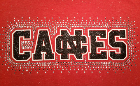 New Castle Red Hurricanes Canes Glitter and Rhinestone Design