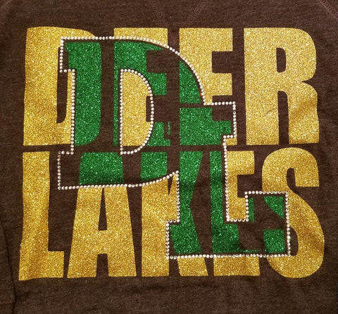 Deer Lakes DL Knockout Glitter and Rhinestone Design