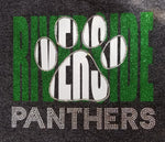 Riverside Panthers Paw Print Knockout Glitter and Rhinestone Design