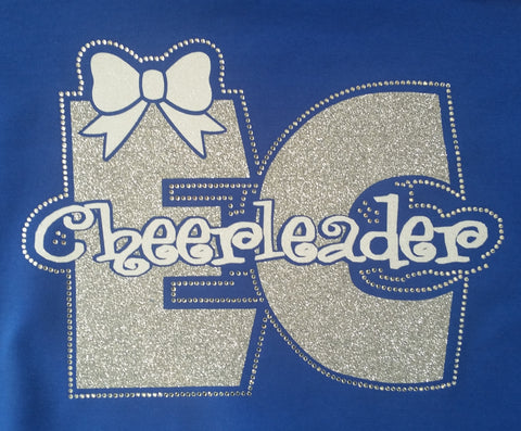Ellwood City EC Cheerleader with Bow Glitter and Rhinestone Design