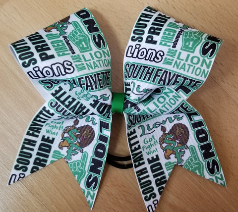 South Fayette Lions Subway Tile Custom Cheer Bow