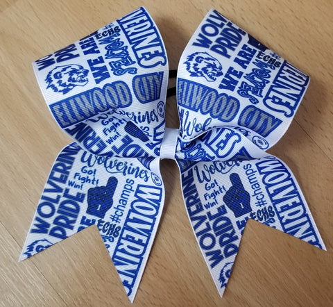 Ellwood City Wolverines Subway Tile Custom Cheer Bow