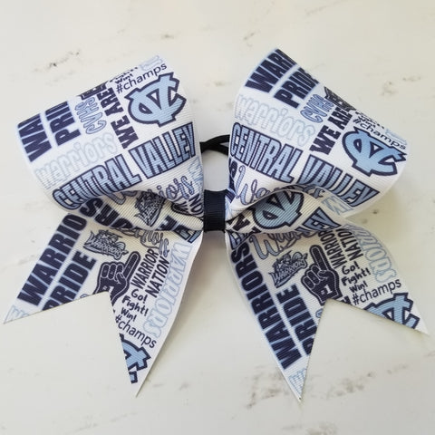 Central Valley Warriors Subway Tile Custom Cheer Bow