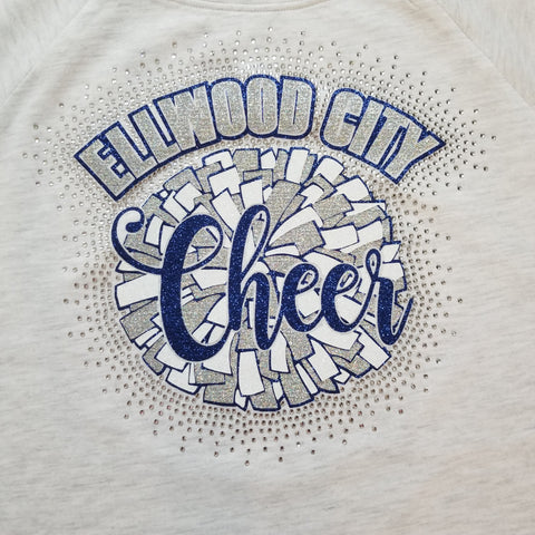 Ellwood City Wolverines Cheer Pom Pom Glitter and Rhinestone Design
