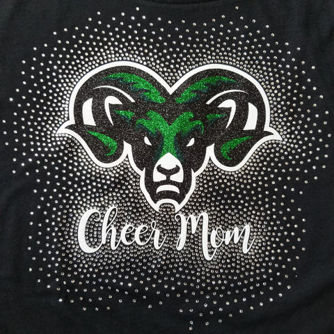 Pine Richland Rams Cheer Mom Glitter and Rhinestone Design