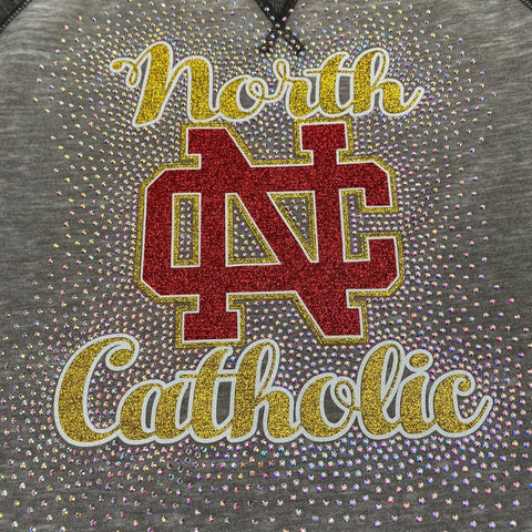 North Catholic Trojans Spectacular Bling Glitter & Rhinestone Design