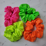Neon Metallic Scrunchie with Scattered Rhinestones