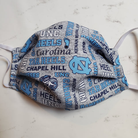 North Carolina Tar Heels Gray Fabric Masks