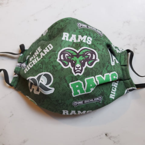 Pine Richland Rams Logo Print Fabric Masks