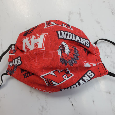 North Hills Indians Custom Fabric Print Mask