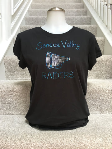IN STOCK: Seneca Valley Megaphone Bling Tee – Girls Large