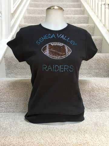 IN STOCK: Seneca Valley Raiders Football Bling Tee – Ladies Medium