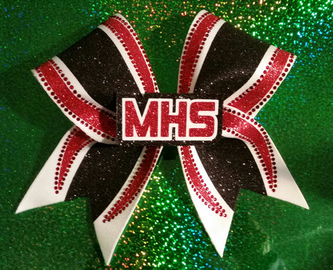 Moniteau Warriors 3D MHS Rhinestone & Glitter Cheer Bow