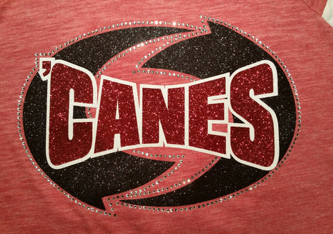 New Castle Red Hurricanes 'CANES with Hurricane Glitter and Rhinestone Design